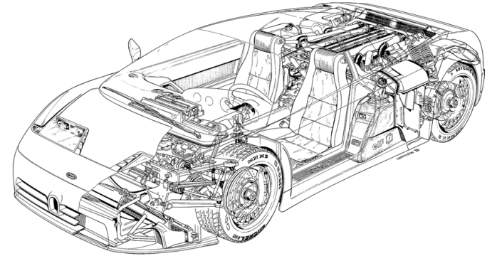 Bugatti EB110 cutaway